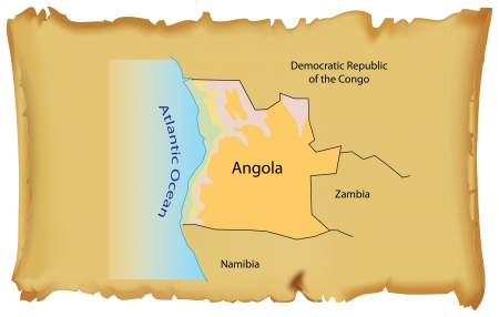 oldest: Map of Angola on an old parchment