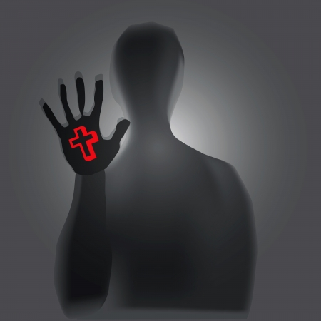 symbolism: Christian symbolism in a persons hand Illustration