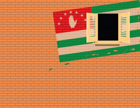 building site: Flag of Abkhazia against the wall with a window. Vector illustration.