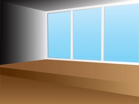 A room with a window instead of a wall. Vector illustration. Vector