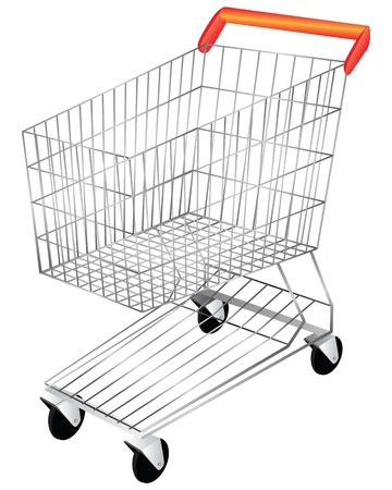 trundle: Shopping Cart is empty for the goods. Vector illustration.