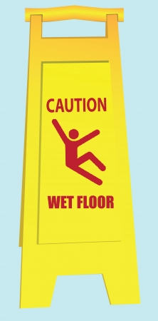 Folding a signal of a slippery field in public areas. Vector illustration.