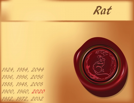 Symbol, the rats on the eastern calendar. Vector illustration.