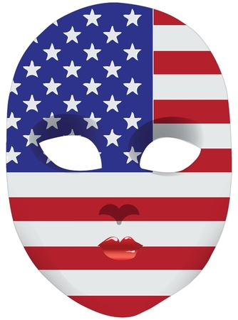 statehood: Classic mask with symbols of statehood of USA. Vector illustration
