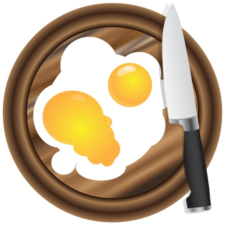 Scrambled eggs with two yolks with a wooden kitchen board with a kitchen knife 向量圖像