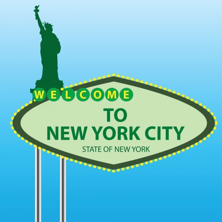 Stand Welcome to New York. Vector
