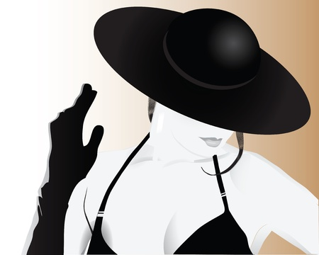 fashion illustration: Stylish woman in a hat Illustration