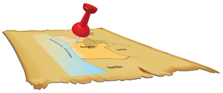 paper pin: Map of Angola with an office pin. Illustration