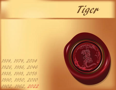 sealing: Symbol, the tiger on the eastern calendar