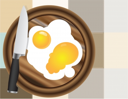 Fried eggs on the kitchen board with a decorative cloth. Vector illustration. Stock Vector - 15320444