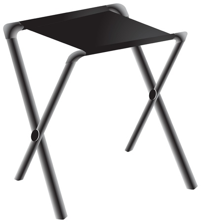 Folding chair with a metal frame and a cloth seat. Vector illustration.