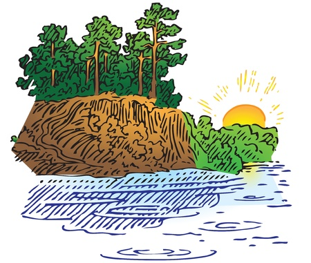 Sunrise over the water surface with rock and forest. Vector illustration.