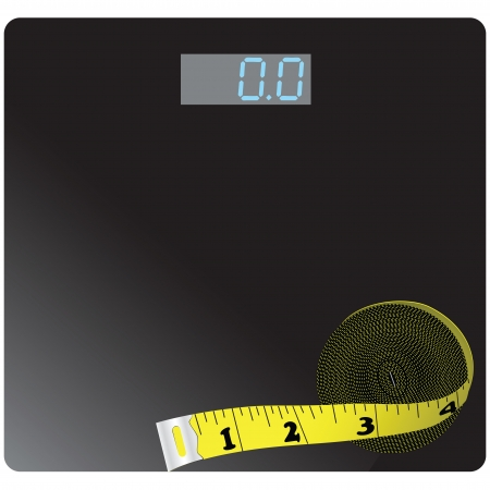 Floor scales and measuring meter, for weight control. Vector illustration.