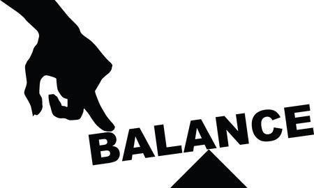 Het concept van evenwicht, het woord balans onder druk.