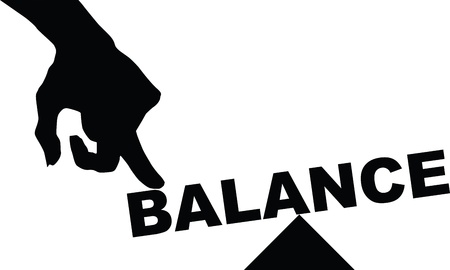 The concept of balance, the word balance under pressure.  Vector