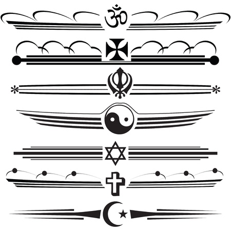 Symbols of different religions in a vintage design.