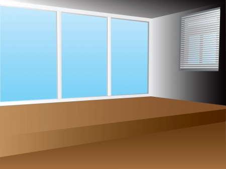 Office interior with two windows.  Vector