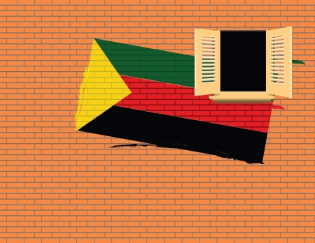 casement: Flag of Azawad against the wall with a window.