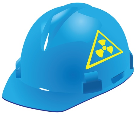 Sign of radiation safety in the plastic industrial helmet. Vector illustration.