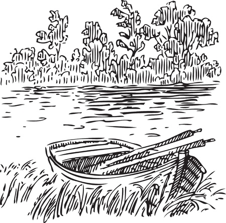 skiff: Boat with oars near the shore