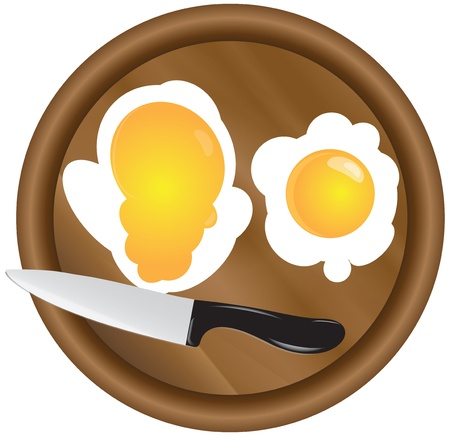 slaughter: Scrambled eggs with two yolks with a wooden kitchen board with a kitchen knife.
