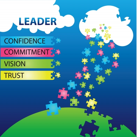 illustration of puzzles with words on the topic of leadership. Stock Vector - 15556586