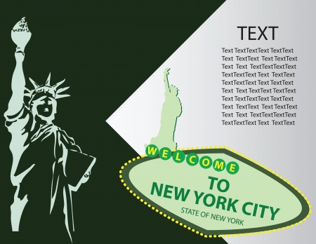Banner for the City of New York with elements symbolizing the city.