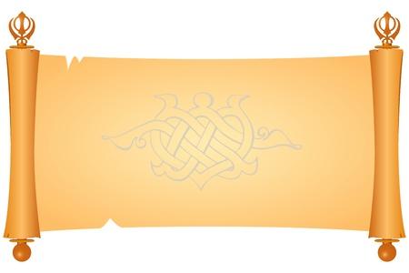 羊皮紙はシーク Khanda のシンボルです。  イラスト・ベクター素材