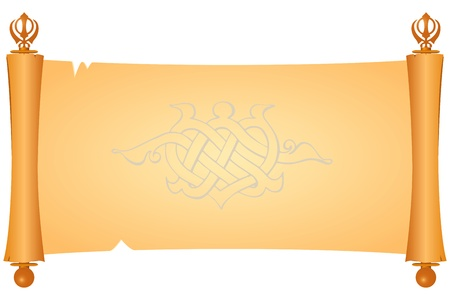 Parchment is a symbol of the Sikh Khanda. Vector
