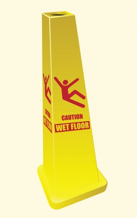 Signal warning of slippery floor in a public institution.  Ilustrace