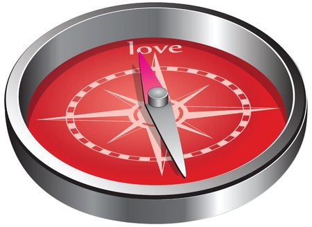 The compass indicates the direction of love. Vector illustration. Иллюстрация