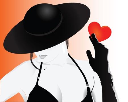 Stylish girl holding a heart. Vector illustration. Ilustracja