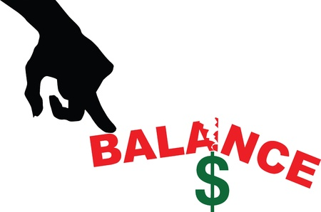 break in: Imbalance in finances. Creative with the dollar. Vector illustration.