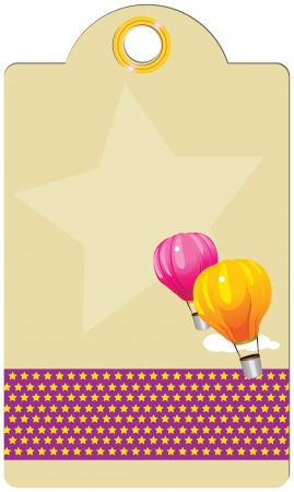 Label with balloons and decoration. Vector illustration.