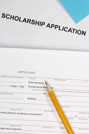 Directly above photograph of a scholarship application. Stock Photo - 15602750