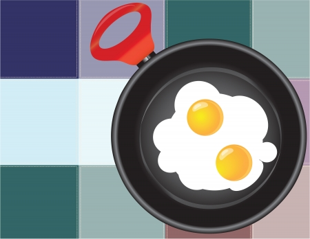 Frying pan with fried eggs on the background of the kitchen towel.  Stock Vector - 15627746