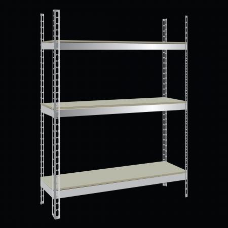 工業用鋼棚木製棚付け。  イラスト・ベクター素材