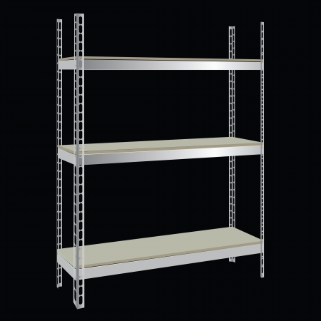 Industrial steel shelving with wooden shelves.