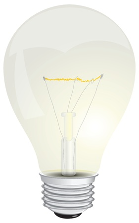 Lamp with a glowing filament.  Illustration