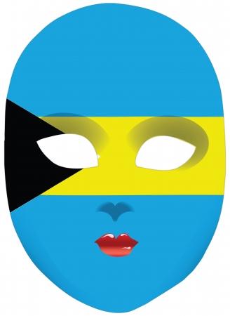 bahamas: Classic mask with symbols of statehood of Bahamas.