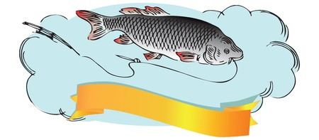 Fish with a fishing line and rod.  illustration.