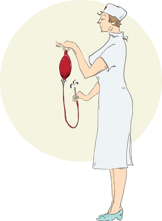 enema: A nurse prepares an enema.