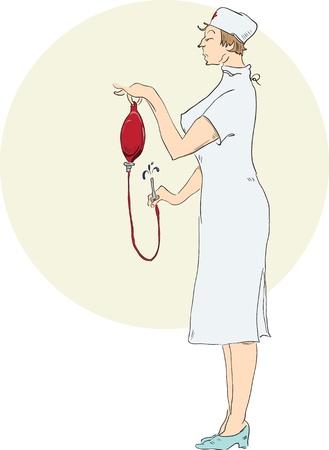 A nurse prepares an enema.