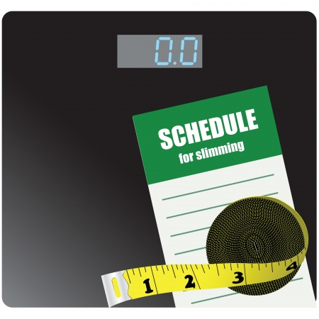 A reminder of the weight loss with bathroom scales and meters. Stock Vector - 15732573