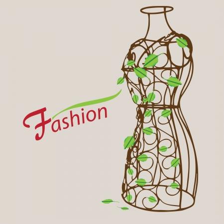 ファッションに創造的です。葉を持つヴィンテージのマネキン。
