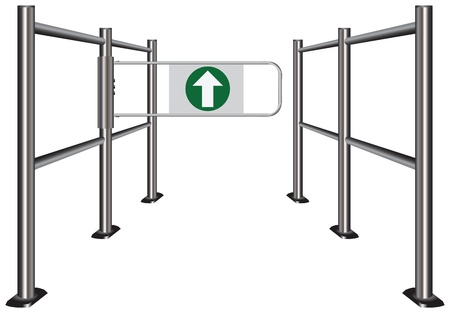 wicket: Turnstile in public places, indicating the movement for the visitors