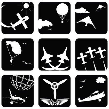 Set of icons for aviation Vettoriali