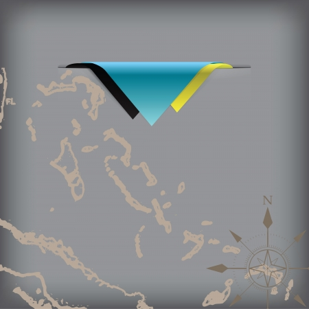 token: The colors of the flag state Bahamas with a map and the wind rose