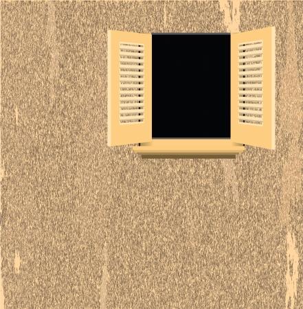 window open: La pared de la vieja casa con una ventana abierta