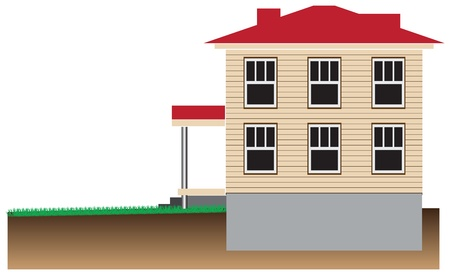 Residential house with a basement. Schematic representation